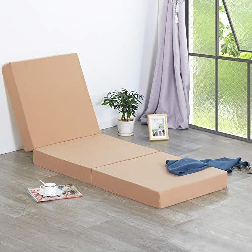 Olee Sleep 4 inch Tri-Folding Gel Memory Foam Mattress Topper, Beige, Twin