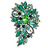 EVER FAITH Women's Austrian Crystal Wedding Flower Leaf Bouquet Brooch Green...