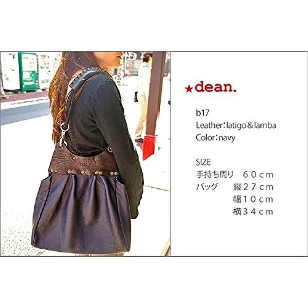 衣服傷跡些細dean(ディーン) pleated bag レザーショルダーバッグ 茶 ハンドル/茶