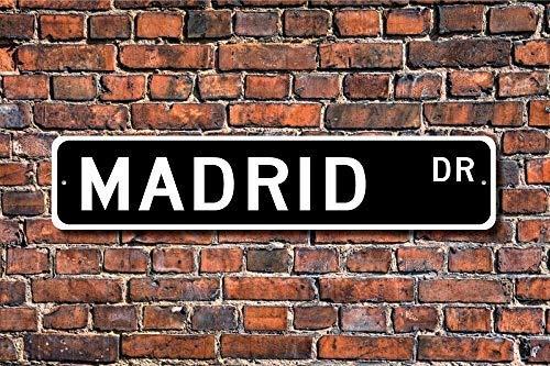 Jeartyca Placa Decorativa para Pared de Madrid, Texto en inglés Madrid de Recuerdo de la Ciudad de España, Madrid