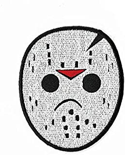 Jason Voorhees Hockey Mask Embroidered Iron / Sew on Patch Horror Movie Badge Friday the 13th Horror Costume Applique Souvenir