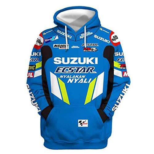 Cronell Story Unisex Spring Langarm Hoodie 3D Digital International Suzuki Logo Print Sweatshirt Lässiges Sweatshirt (1,2XL)