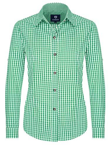 ALMBOCK Trachtenbluse Damen langarm - Karierte Bluse mint-grün kariert aus 100% Baumwolle - Festliche Blusen in Größe 34-46