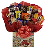 Chocolate Candy Bouquet gift box - Great as gift for Mothers Day, Birthday, Thank You, Get Well Soon gift or for any occasion (Red Farm Truck Gift Box)