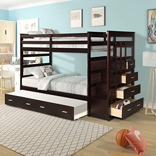 DANGRUUT Thicken Upgraded Version Twin Over Twin Bunk Bed with Trundle, Best Wood Bunk Bed Frame with 4 Storage Drawers, Safety Guard Rail and Stair, Kids, Teens Luxury Bedroom Furniture(Espresso)