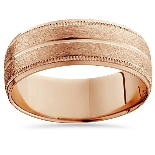 14K Rose Gold Mens Brushed Milgrain Beveled Wedding Band 8mm - Size 8