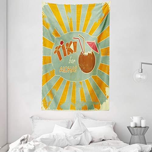 ABAKUHAUS Tiki Bar Wandteppich & Tagesdecke, Aloha-Spaß-Party aus Weiches Mikrofaser Stoff Waschbar ohne Verblassen Digitaldruck, 140 x 230 cm, Mandelgrün Orange