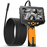 Dual Lens Endoscope Camera, Teslong 5inch IPS Industrial Borescope Inspection Camera with Light, for Automotive HVAC Plumbing, 1080P HD Waterproof Probe, 16.5ft Gooseneck Snake Cable & Tool Case