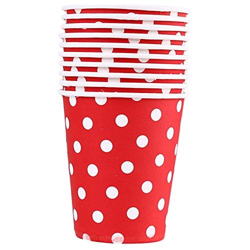 WDOIT 10 pcs jetables Placard Carton Boisson Chaude Tasse à café Mariage Réunion de Pique-Nique pour Enfant fête d'anniversaire La Santé Environnementale Couleur, Papier, Red, 8.3 * 7.4CM