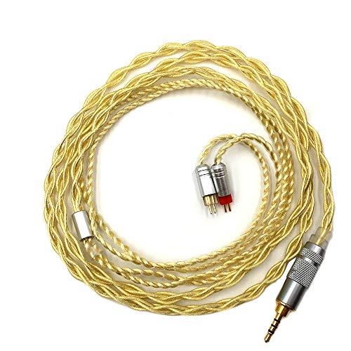 Linsoul 7N OCC versilbertes Kabel mit MMCX/0,78mm 2 Pin-Anschluss - 3,5mm/2,5mm Stecker für z.B Shure SE215, LZ, Shozy Hibiki, oder Kinera H3 (0.78mm 2-Pin, 2.5mm Stecker)