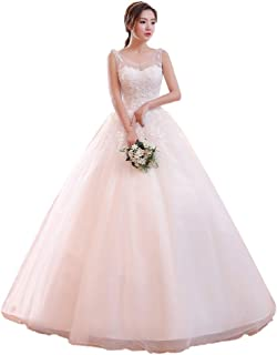 Bride Lace Embroidered Wedding Dress Formal Party Backless Fluffy Prom Tulle Gown beautiful