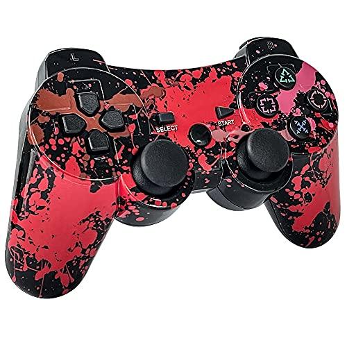 TPFOON Mando PS3 Inalámbrico, Wireless Bluetooth Controlador Gamepad de Doble Vibración SIXAXIS para Playstation 3 con Cable de Carga - Pintada