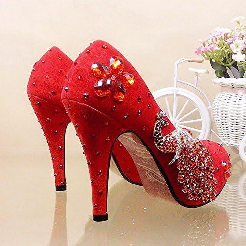 JINGXINSTORE Chaussures de mariage fleurs rouge Chaussures Strass Chaussures Phoenix seul High-Heeled Chaussures Chaussures Chaussures Perforhommece