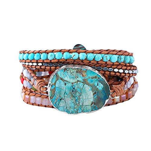Plumiss Bohemia 5 Wraps Ocean Jasper Bracelet Handmade Multilayer Beaded Jewellery For Women And Girls