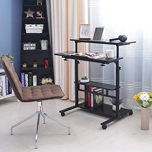 Ausla Laptoptisch für Computer mit 4 Ebenen, Laptop Stand, Notebookständer, zusammenklappbar, für Arbeiten am Computertisch, höhenverstellbar von 85-120 cm Noce Nero