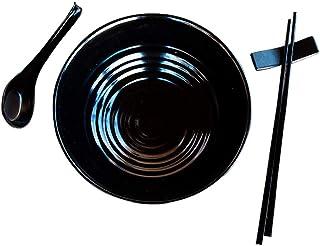Kimmyer 2 Set (6 Piezas) Ramen Bowl Set-asiático Japonés Estilo con cucharas Palillos-Restaurante Calidad melamina Pho | Fideos | El Udon | Vajilla tailandesa para Cualquier Comida de Sopa