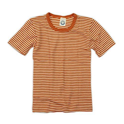 Cosilana Kinder Unterhemd 1/4 Arm, Farbe Geringelt Safran-Orange Natur, Größe 140 Wollbody®