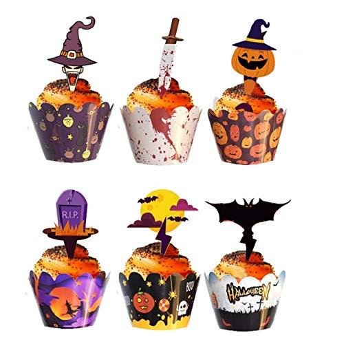 ハロウィン ケーキトッパー 24枚 ケーキボックスリム 24枚 カップケーキトッパー ケーキトッピング ケーキ...