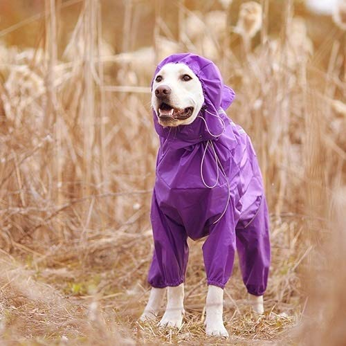 Raincoat Pet Dog Raincoat vêtements imperméable réfléchissant à col Capuche Jumpsuit for Les Petites Big Rain Dogs Cape Golden Retriever du Labrador (Color : Purple, Size : 30)