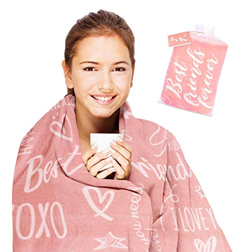 HyggeFabrik Friend Gift Blanket in Organza Bag with Gift Card I Friendship Gift Set for Women, Bestie, BFF, Sister, Mom, Grandma, Aunt, Couples, Girlfriend I Cozy Birthday Gift I Coral Pink 50