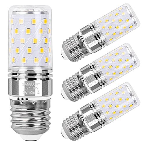 SanGlory 9W E27 LED Lampadine Equivalenti a 80W Incandescenza, Lampadina Mais E27 Luce Bianca Neutro 4000K 950LM Alta Luminosità e Risparmio Energetico Non Dimmerabile, 4 Pezzi (E27 4000K)