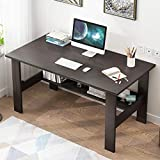 Us Fast Shipment I Shaped Computer Desk for Home Office Living Room,Wooden Smooth Desktop Table Corner Writing Study Desk with Two Layers Storage Book Shelf,Save Space (Black)