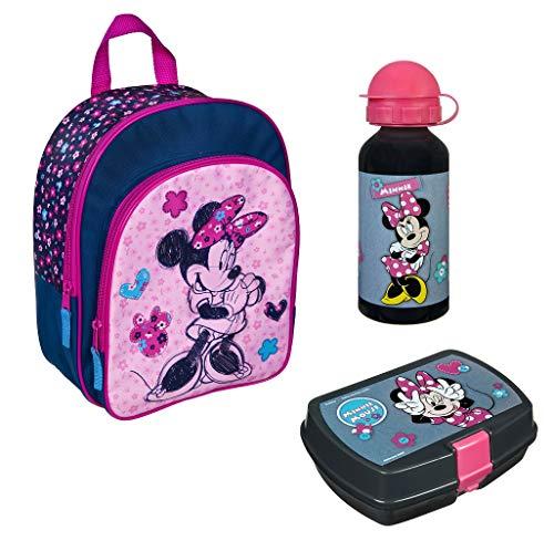 Familando Mädchen Rucksack-Set 3tlg. mit Brotdose und Trinkflasche für Kinder-Garten / Krippe Rosa Disney Minnie Maus Minni Mouse