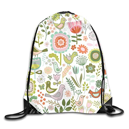 show best Birds Blooms Springtime Drawstring Gym Bag for Women and Men Polyester Gym Sack String Backpack for Sport Workout, School, Travel, Books 14.17 X 16.9 inch
