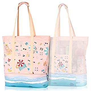 Mesh Beach Bag Cooler, Large Beach Bag Tote Mesh Woman Girls, 2-in-1 Beach Bag Cooler Compartment Insulated Zipper, Cute Well-Designed (B07H4L3T2C) | Amazon price tracker / tracking, Amazon price history charts, Amazon price watches, Amazon price drop alerts