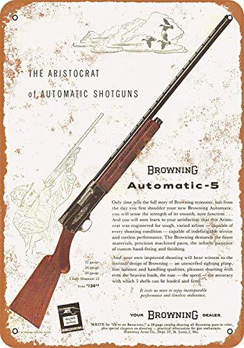 MNUT 1958 Browning Automatic-5 Señal de Metal para Escopeta, Gran Letrero de Lata de Aluminio, 8 x 12 Pulgadas