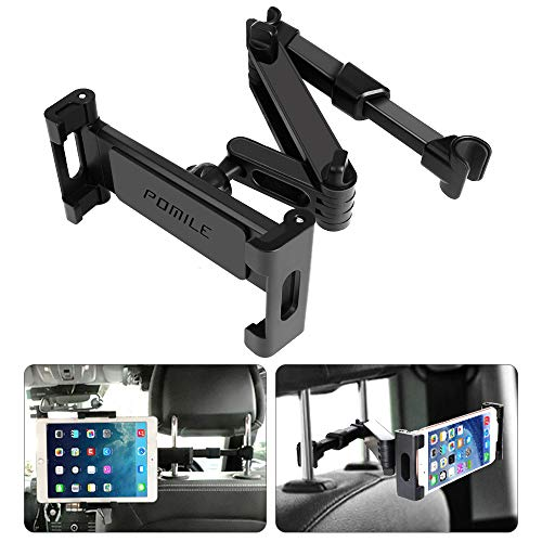 POMILE Car Headrest Tablet Mount - Stretchable Tablet Headrest Holder - Car Backseat Seat Mount for All 4.6in - 12.9in Compatible with Pad Mini Pro Air, Nintendo Switch, Samsung Galaxy Tabs