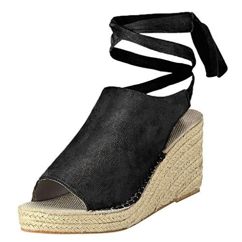 Sandalias Cuñas con Punta Abierta para Mujer Tacones Altos Sexy 9 Cm Sandalias de Vestir Zapatos con Cordones