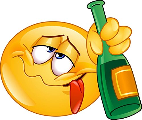 1 Smiley-Aufkleber Drunk I 12,5 x 9 cm groß I Emoji Sticker betrunken besoffen blau I Bar-Aufkleber Theke Tresen Küche Alkohol wetterfest I kfz_254