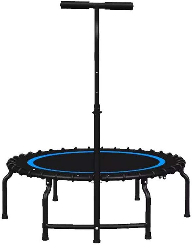Silent Fitness 40-Zoll-Trampolin mit verstellbarem Haltegriff und Sicherheitsunterlage - Klappbares Gartentraining im Garten