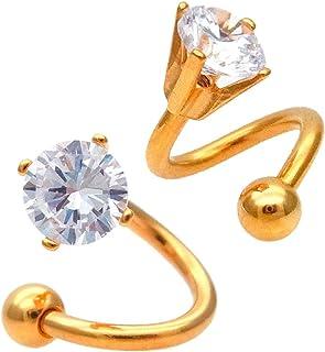 (スパイシーリップス)SPICYLIPS GOLD 1粒 キュービックジルコニア CZ スパイラル 軟骨ピアス ボディピアス ユニセックス SS (右巻き) 1084 16GA/右耳