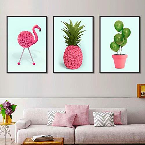 LLXHG muurschilderij op canvas, creatief, modulair, dieren, flamingo, giraffe, koffie, ananas, blaas, decoratie voor thuis, foto's, 30 x 40 cm, 3 stuks zonder lijst
