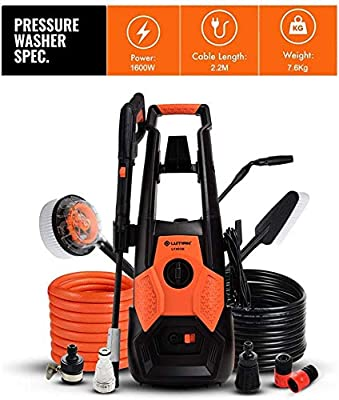 Indoor and Outdoor Cleaning Tools Mop Pressure Washer, 1600W 130Bar, 360 Deg; Easy to Remove Dirt, TSS Stop System, High Power Pressure Cleaner for Vehicle,Garden. dljyy by Dljxx
