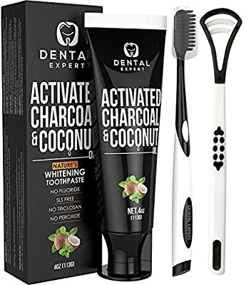 Dental Expert Activated Charcoal Teeth Whitening Toothpaste - Destroys Bad Breath with Tongue Scraper Cleaner Best Natural Black Tooth Paste Kit - Mint Flavor - Removes Coffee Stains
