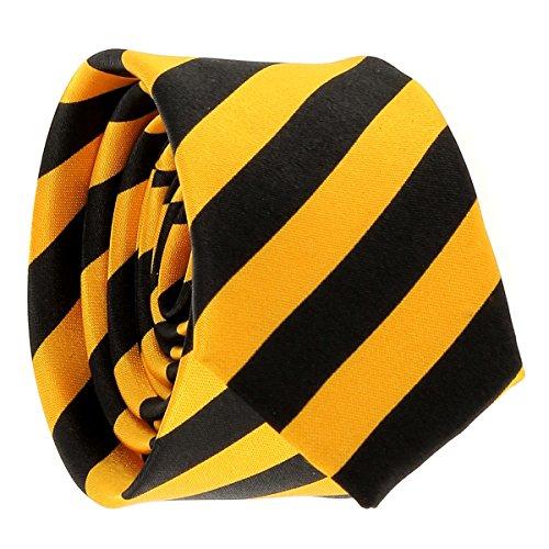 Cravate Rayures Larges Jaune orange et Noire - Cravate rayée