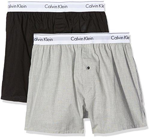 Calvin Klein Herren 2p Slim Fit Boxer Hüft-Shorts, Mehrfarbig (Black/Grey Heather Bhy), S (2er Pack)