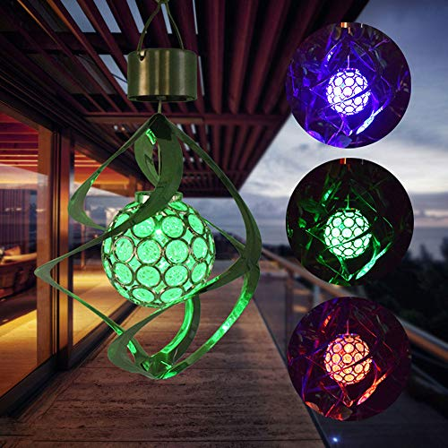 Hahuha Windspiel, Solarbetriebene Windspiele Licht hängen LED Garten Gartenlampe Farbwechsel, LED-Licht