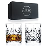 Set Of 2 Crystal Whiskey Glasses, Cut Crystal Glassware By FLOW Barware Classic Crystal Glasses Perfect for Scotch, Bourbon Gin & Tonic