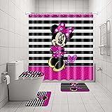 4 Stück süße Min-nie Maus schwarz weiß Streifen mit 12 Haken Teppich Badezimmer Duschvorhang WC Matte Deckel Vorleger Vorhang-Sets Badezimmer Sets mit Duschvorhang & Vorleger & Zubehör