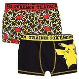 Pokemon Boxer Garcon, Lot De 2 Boxers Enfant en Coton Motif Pikachu Et Pokeball, sous-vêtement Enfant Garçon 4-14 Ans (Multi, 9-10 Ans)