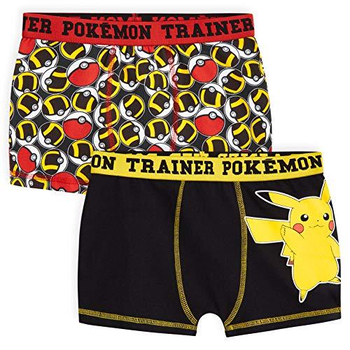 Pokemon Boxer Garcon, Lot De 2 Boxers Enfant en Coton Motif Pikachu Et Pokeball, sous-vêtement Enfant Garçon 4-14 Ans (Multi, 5-6 Ans)