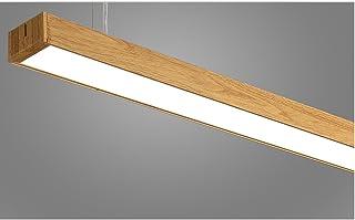 LOFAMI Lámpara colgante Patron de imitación madera Luz de techo 24W LED lámpara de araña de aluminio acrilico para oficina, fábrica, shopping malls?120CM×7CM,sala ( Color :Warm light )
