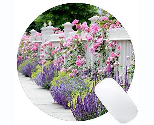 Naturkautschuk Runde Mauspad mit Zaun Rose Rose Bush Lavendel-Genähte Kanten gedruckt