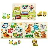 LEADSTAR 3D Animal Puzzles de Madera para Bebé,3 PCS Infantiles Puzzles de Madera Juguetes Montessori Juguete Educativo Regalo para 1 2 3 4 5 años Niños Niñas