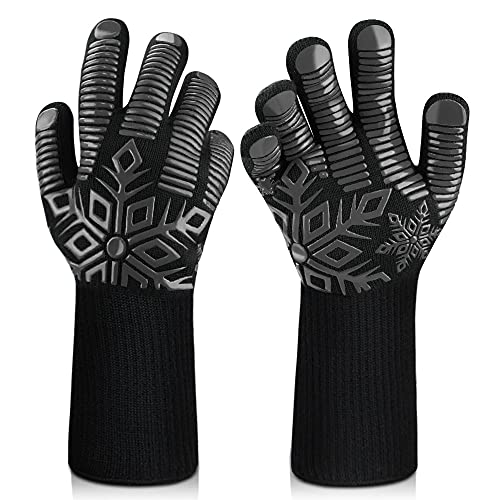 Sungwoo BBQ Gloves, 1472℉/800℃ Extreme Heat Resistant Gloves, Ultra-Long Wrist Guard Silicone...