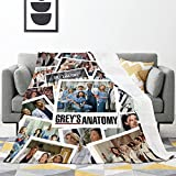 Grey's Anatomy Ultra-Soft Blanket Flannel Throw for Bed Couch Sofa Travel Fall for Adults Kids 60'x50'Inch